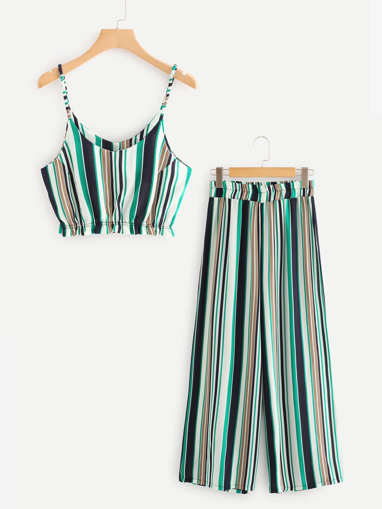 Multi Striped Crop Cami Top With Wide Leg Pants alfred dunner women s wide leg pants 18w multi