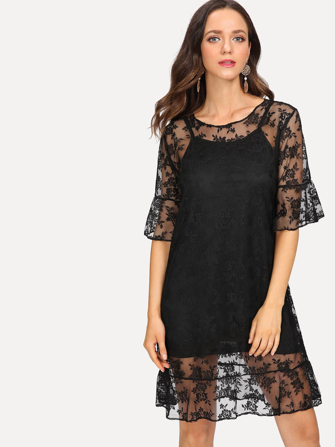 Embroidered Lace Overlay Dress With Cami Insert scallop embroidered mesh overlay cami top