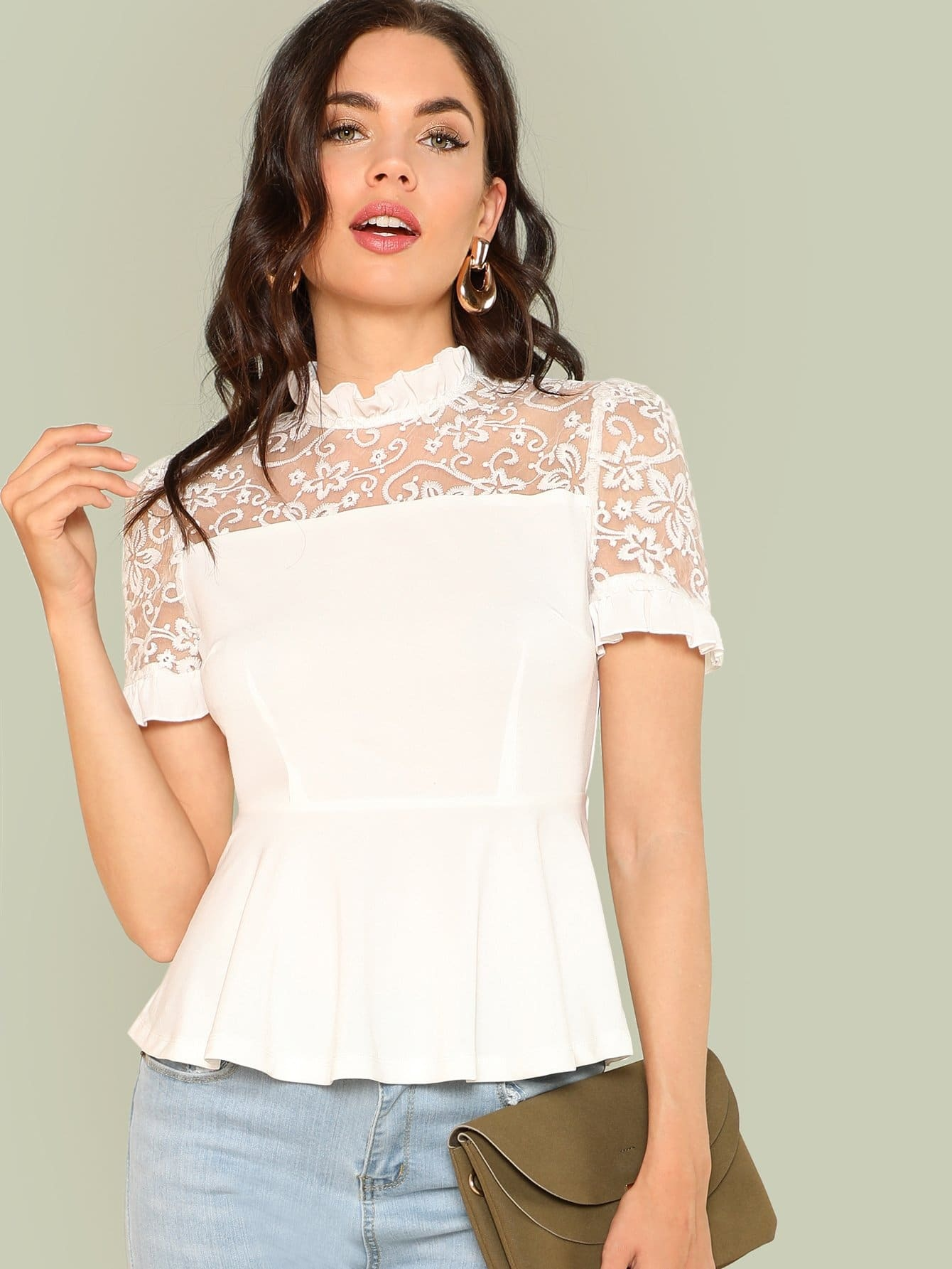 Embroidery Mesh Insert Ruffle Trim Blouse ruffle trim blouse