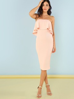 Flounce Bandeau Bodycon Midi Dress