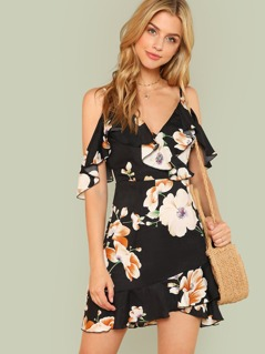 Flounce Cold Shoulder Floral Dress
