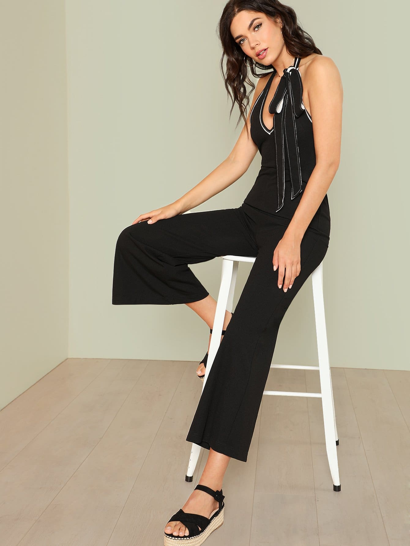 Deep V Neck Wide Leg Halter Jumpsuit new lone wolf and cub v 7