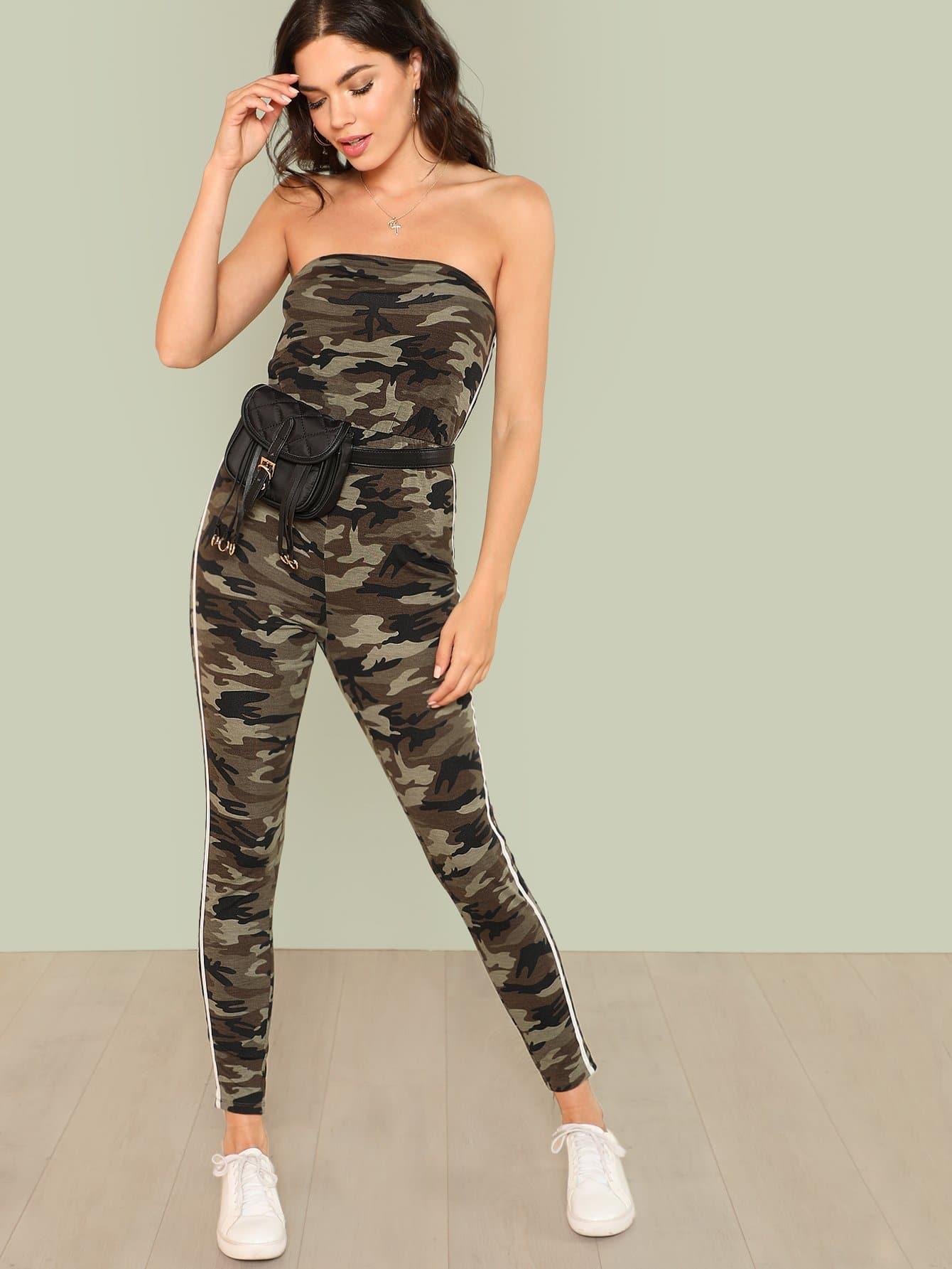 Camo Print Contrast Striped Side Strapless Jumpsuit self tie split side camo jumpsuit
