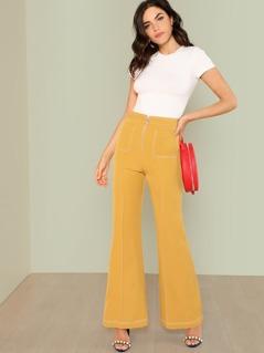 Pocket Patched Zip Up Flare Hem Pants