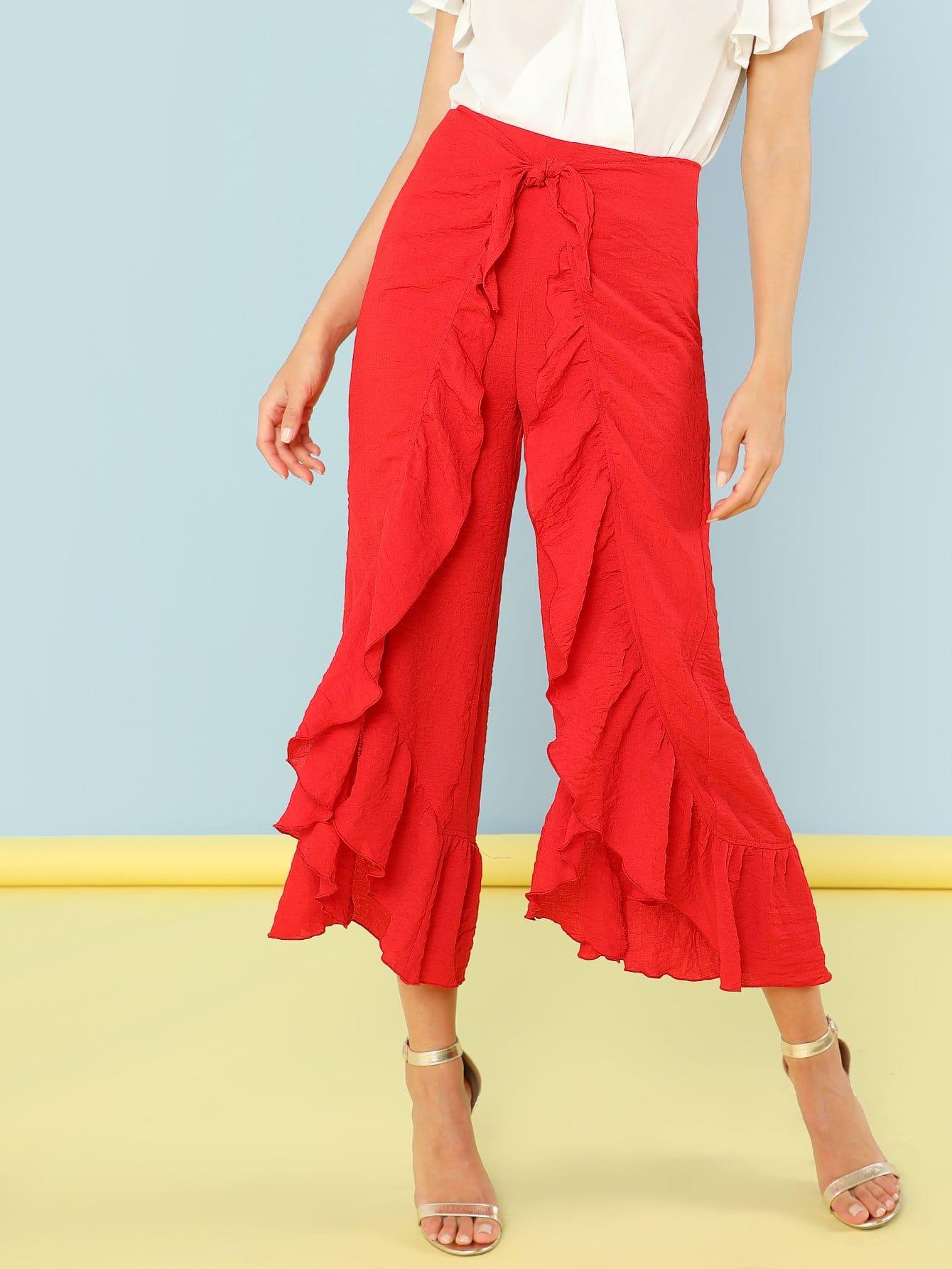 Ruffle Trim Asymmetrical Hem Wide Leg Pants asymmetrical ruffle trim t shirt