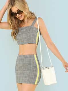 Contrast Panel Plaid Crop Top & Skirt Set
