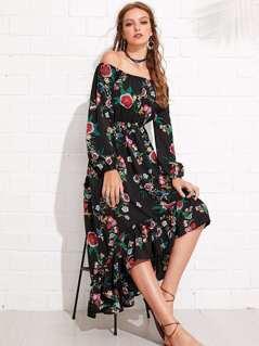 Floral Print Bishop Sleeve Asymmetrical Hem Bardot Dress