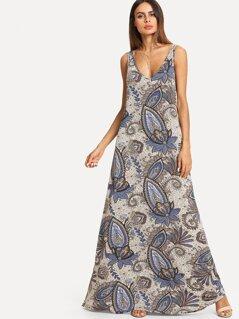 Paisley Print Maxi Tank Dress