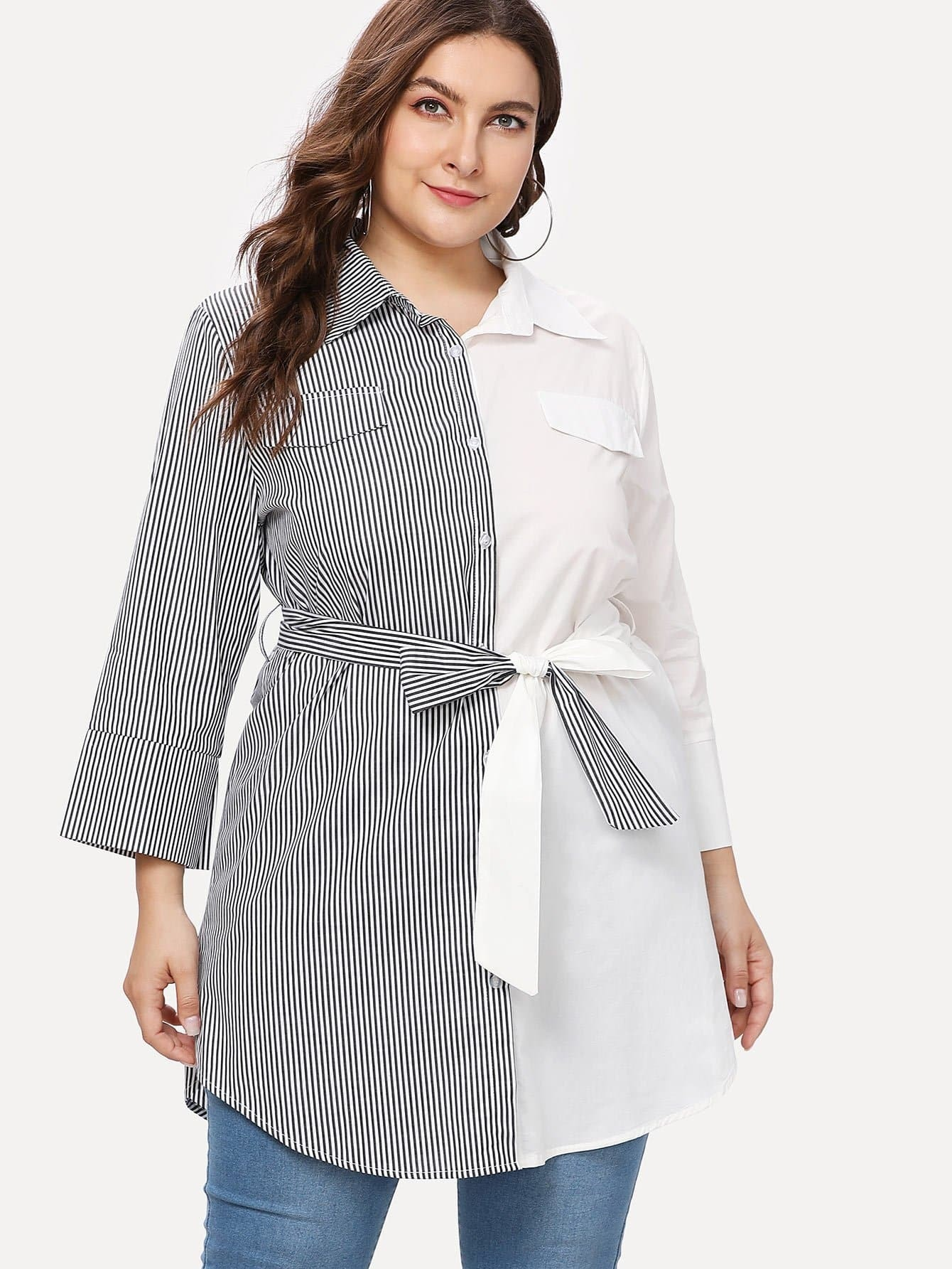 Two Tone Belted Shirt Dress two tone mixed print longline shirt