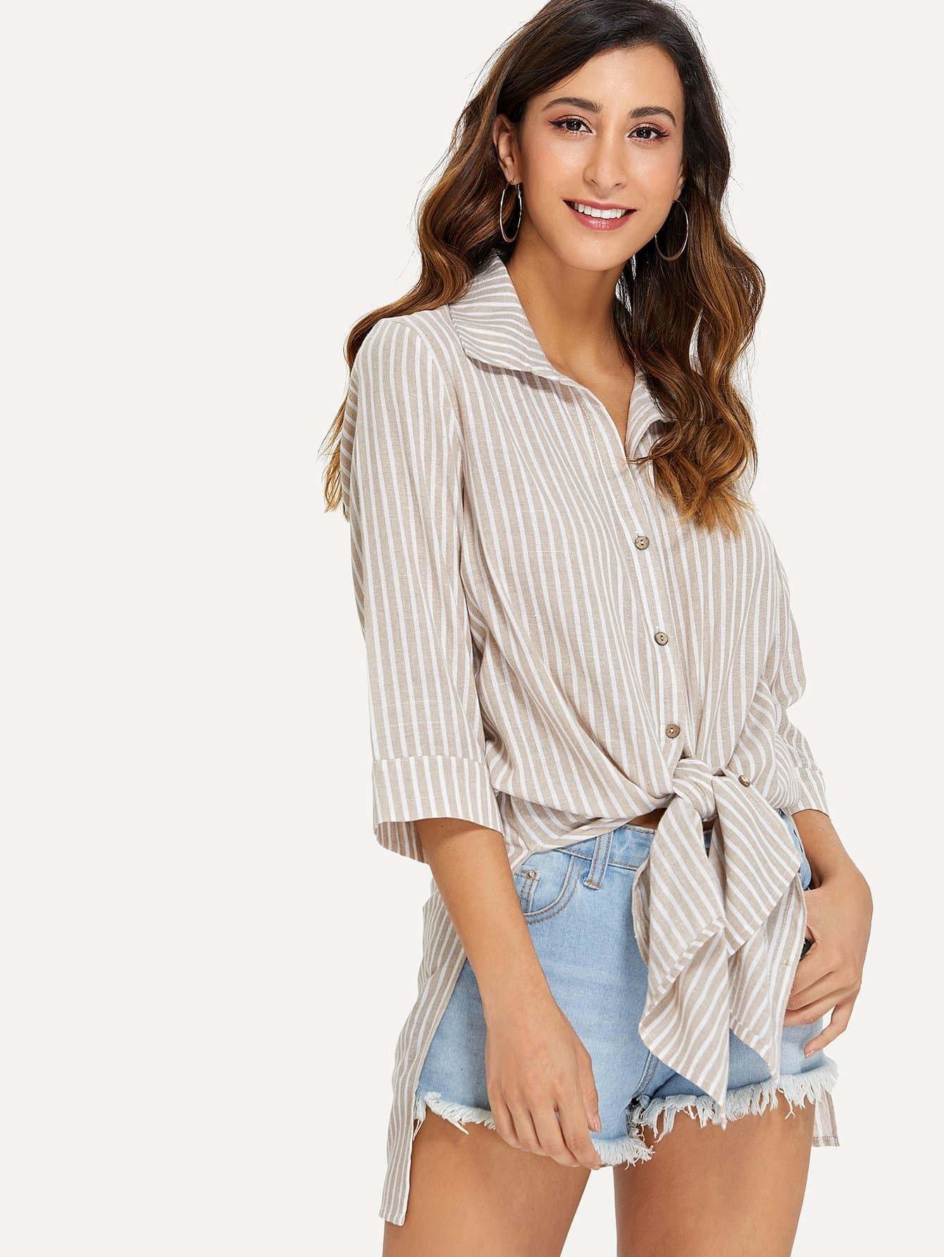 Button Up Striped Shirt Dress striped button up pocket shirt