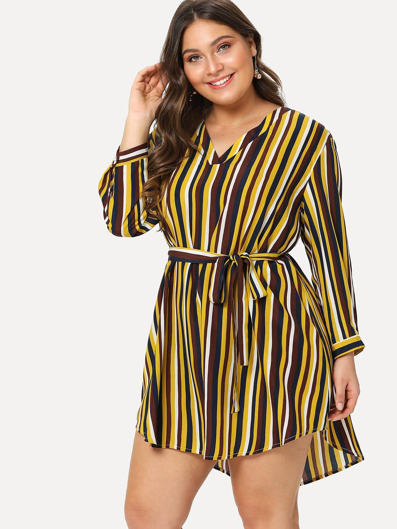 Knot Cuff Dip Hem Striped Tunic Dress все цены
