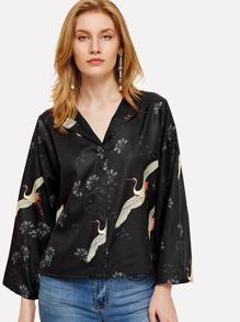 Crane Bird Print Kimono