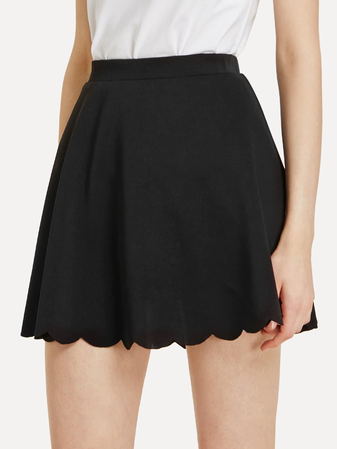 Elastic Waist Scallop Hem Skirt elastic waist scallop ruffle hem pants