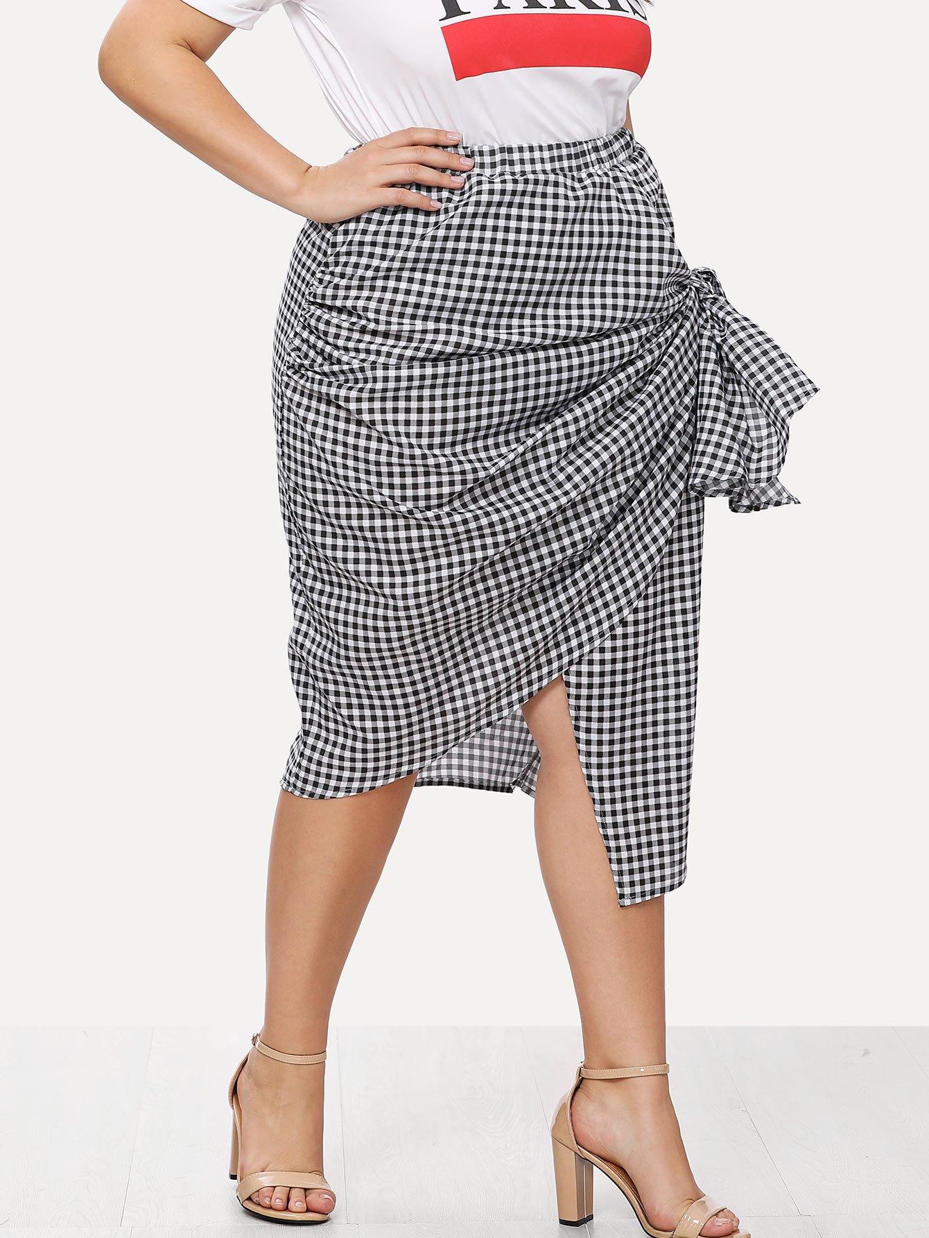 Asymmetric Gingham Wrap Skirt asymmetric gingham pocket shirt