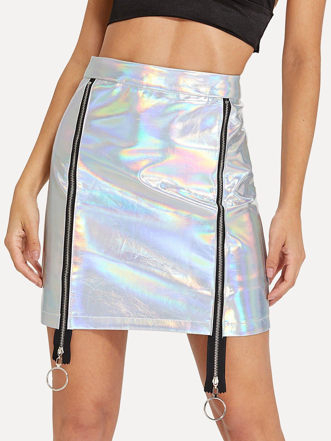 O-Ring Zip Up Metallic Skirt цена