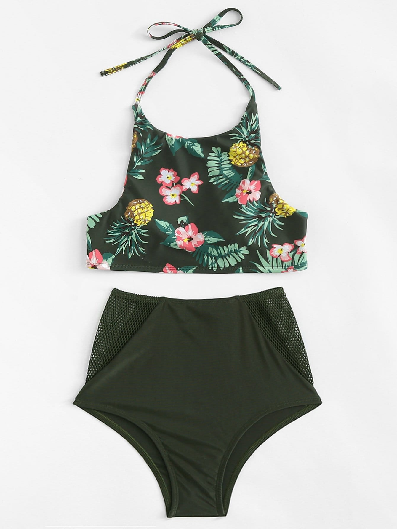 Tropical Print Cut Out Back Mesh Insert Bikini Set sleeveless mesh insert cut out dress