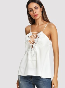 Lace Applique Tie Up Plunging Cami Top
