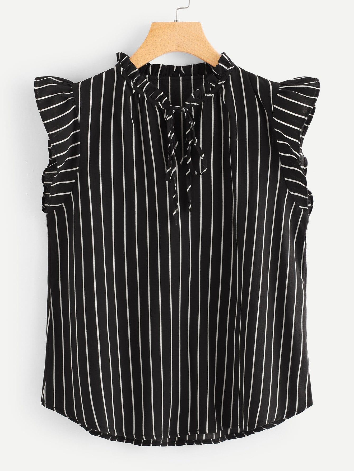Frilled Neck Sleeveless Pinstripe Top frilled collar lace yoke sleeveless top