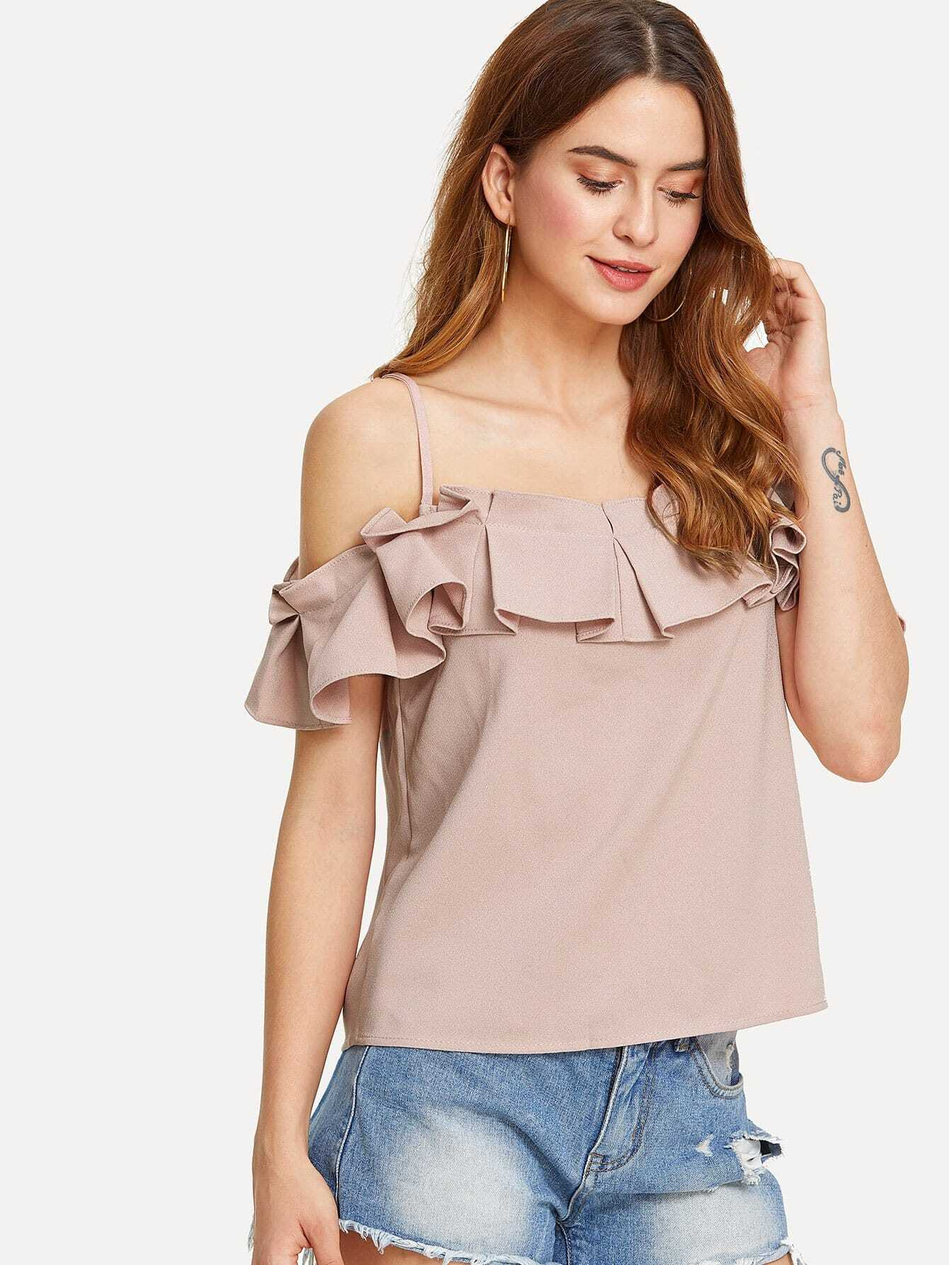 Box Pleated Ruffle Cold Shoulder Top box pleated ruffle cold shoulder top