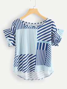 Cut And Sew Striped Top