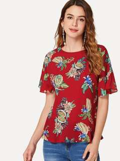 Tropical Print Crisscross Back Ruffle Sleeve Top