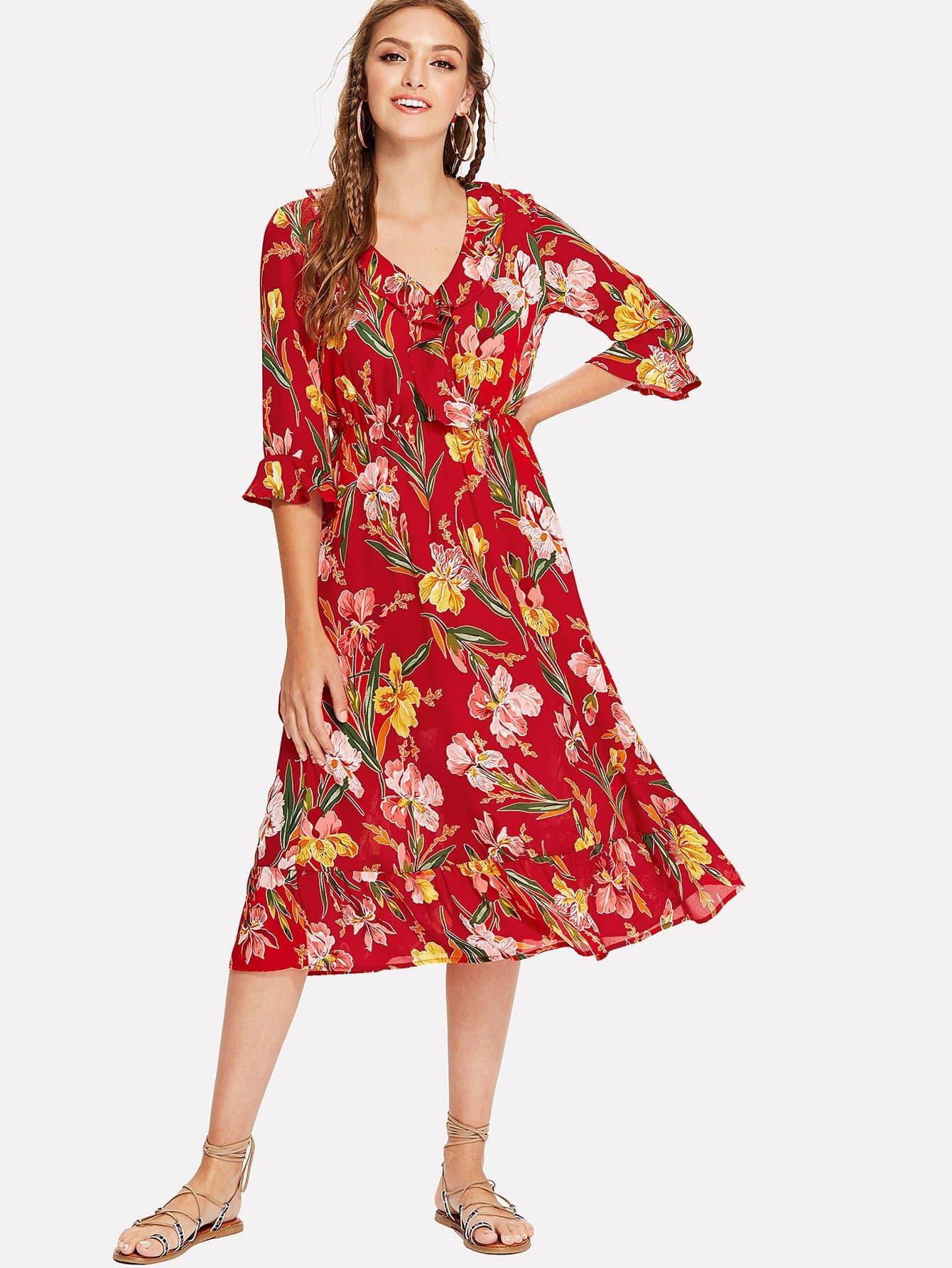 Ruffle Overlap Front Trumpet Sleeve Botanical Dress trumpet sleeve botanical print dress