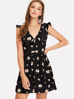 Ruffle Armhole Ladder Lace Detail Floral Dress