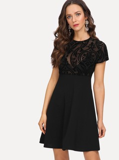 Flocked Mesh Bodice Dress