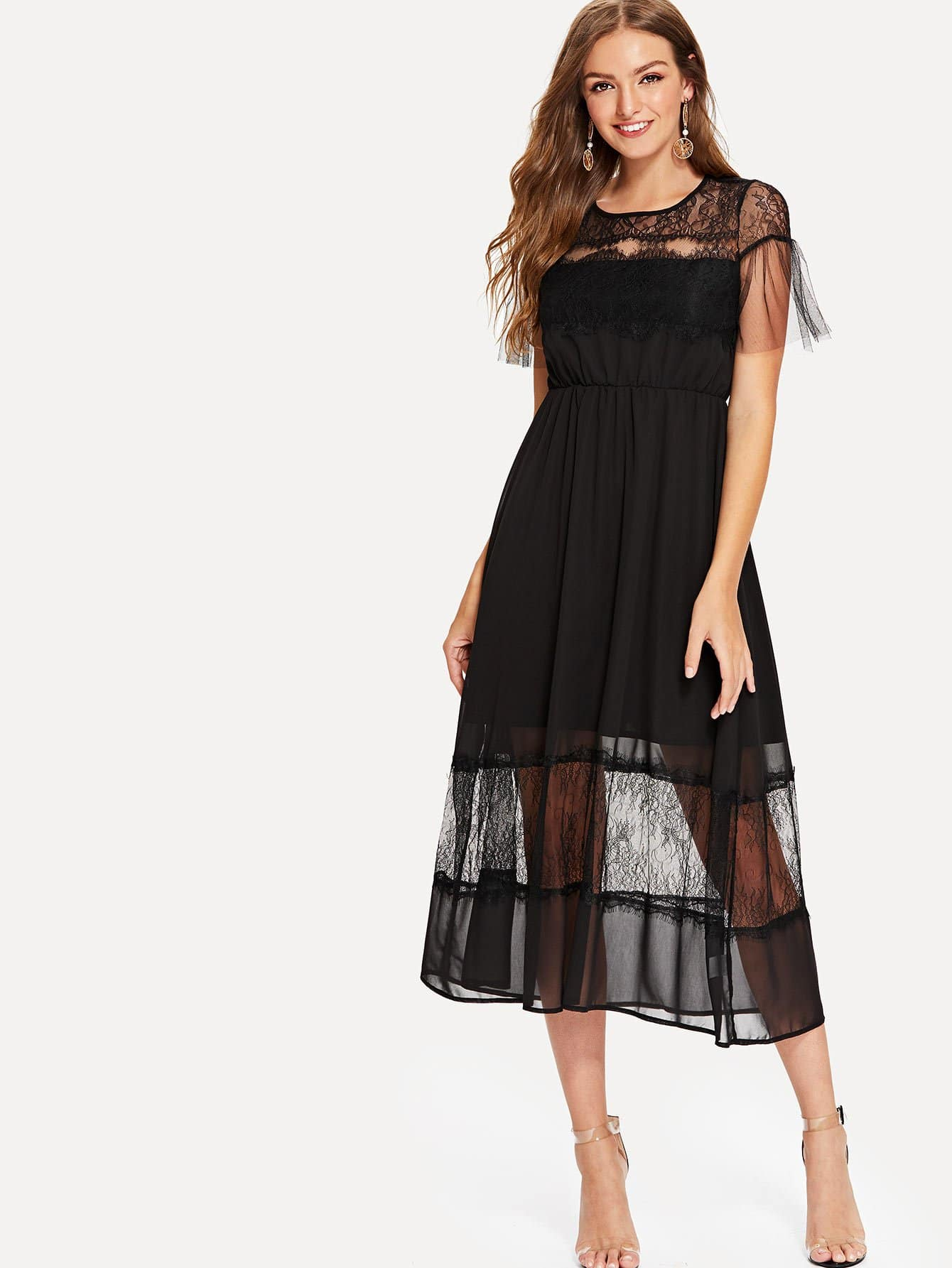 Lace Panel Ruffle Dress ruffle mesh panel dress