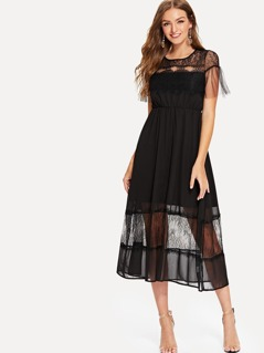 Lace Panel Ruffle Dress