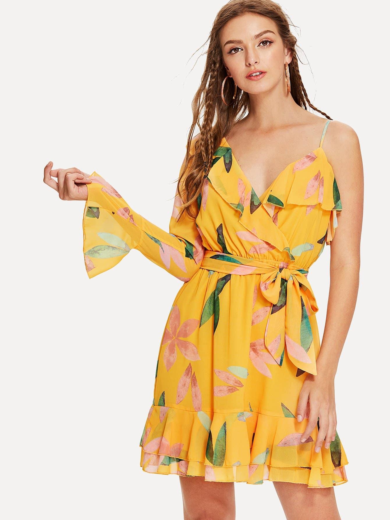 One Shoulder Ruffle Floral Wrap Dress one shoulder ruffle embellished dress