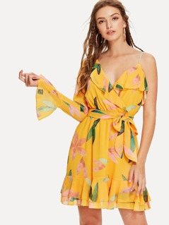 One Shoulder Ruffle Floral Wrap Dress