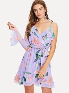 One Shoulder Ruffle Floral Wrap Dress