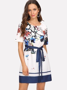 Flower Embroidered Contrast Tape Dress