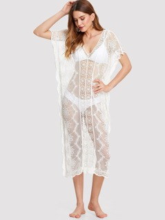 Crochet Insert Embroidered Sheer Cover Up Dress