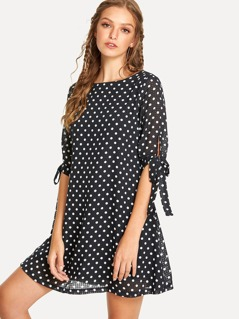 Tied Cuff Polka Dot Dress