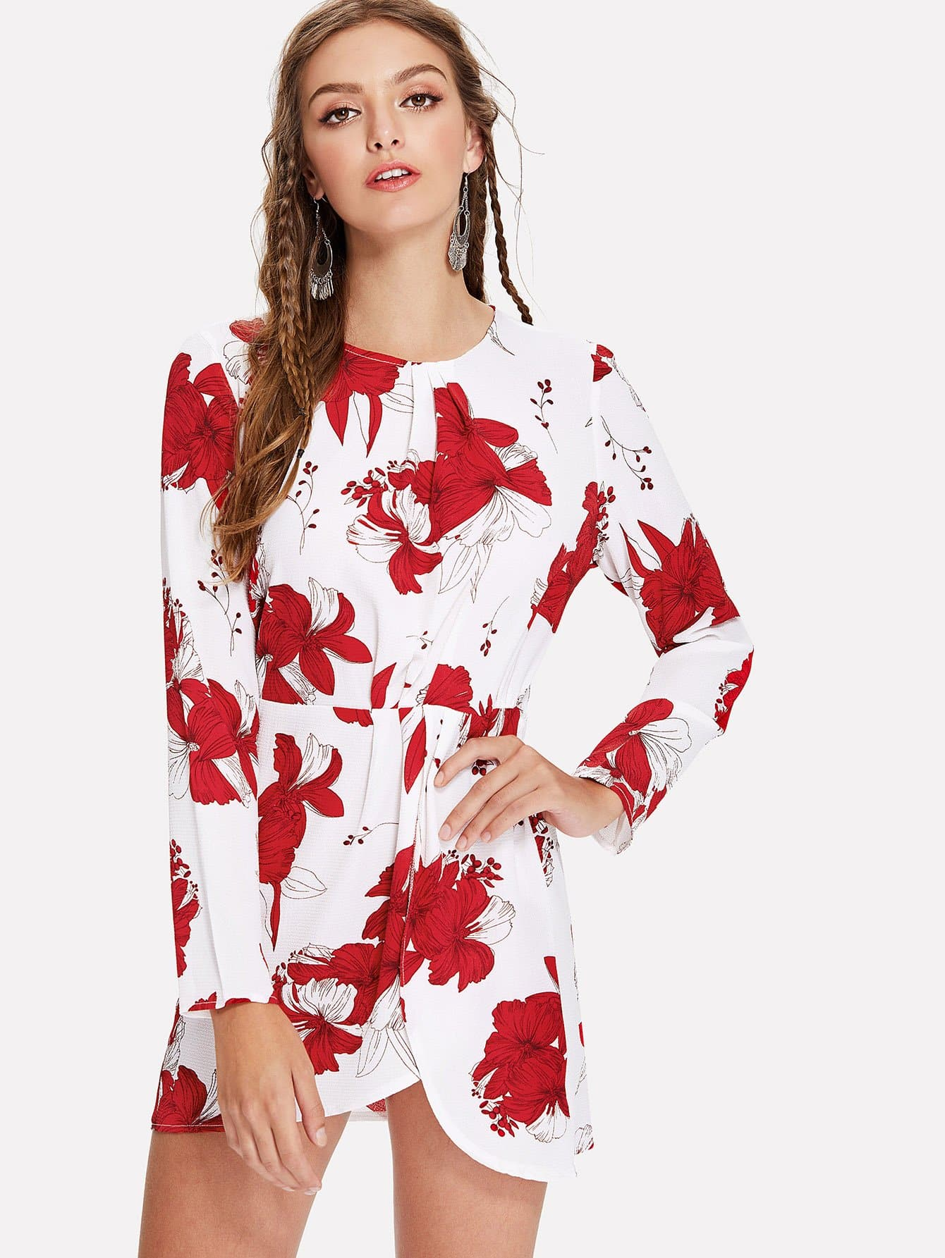 Flower Print Wrap Hem Dress tropical print dip hem wrap dress