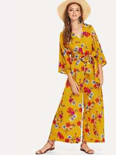 Split Back Belted Floral Kimono Jumpsuit