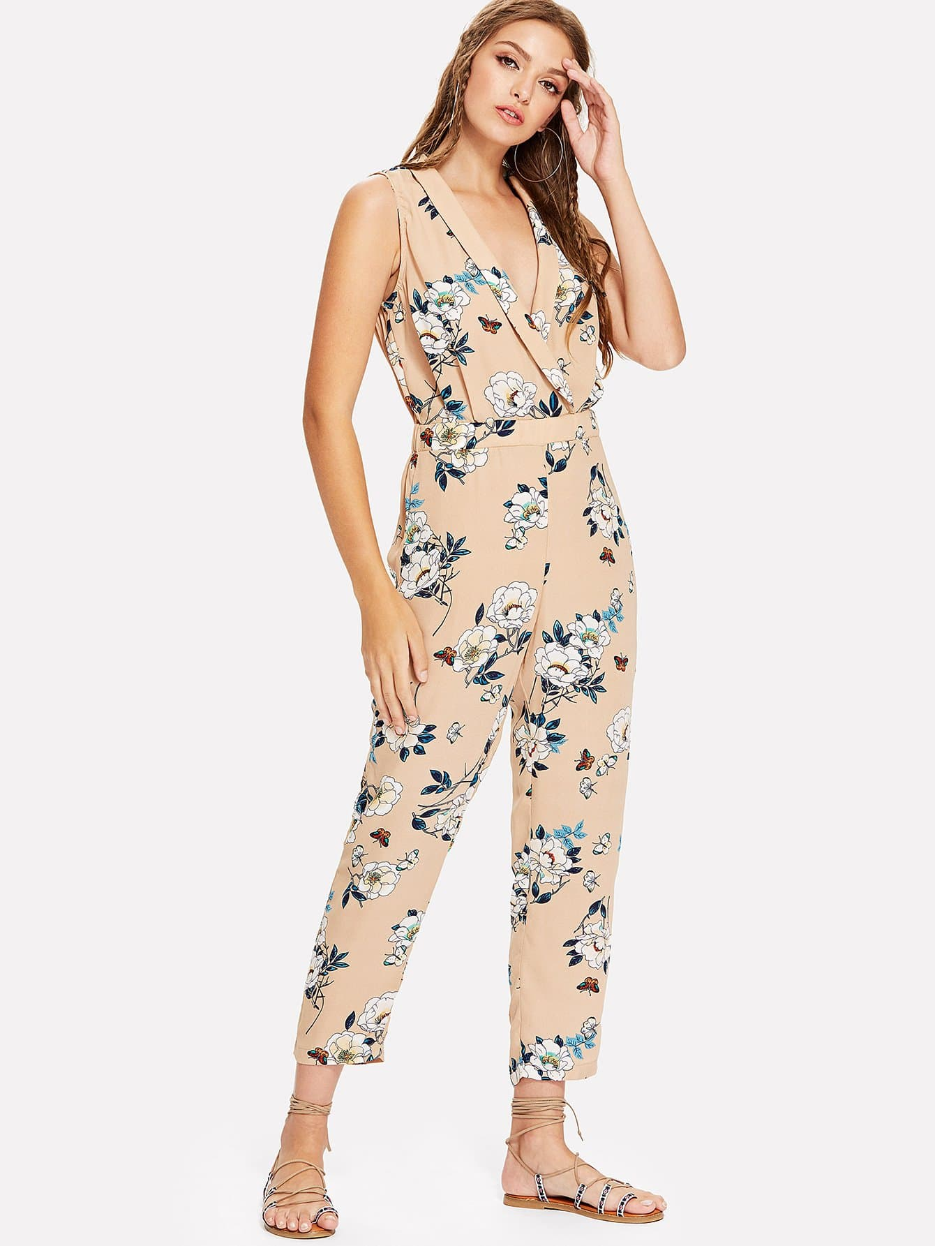 Shawl Collar Wrap Floral Jumpsuit wrap front floral jumpsuit with belt