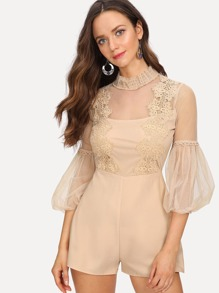 Lace Applique Bishop Sleeve Mesh Bodice Romper