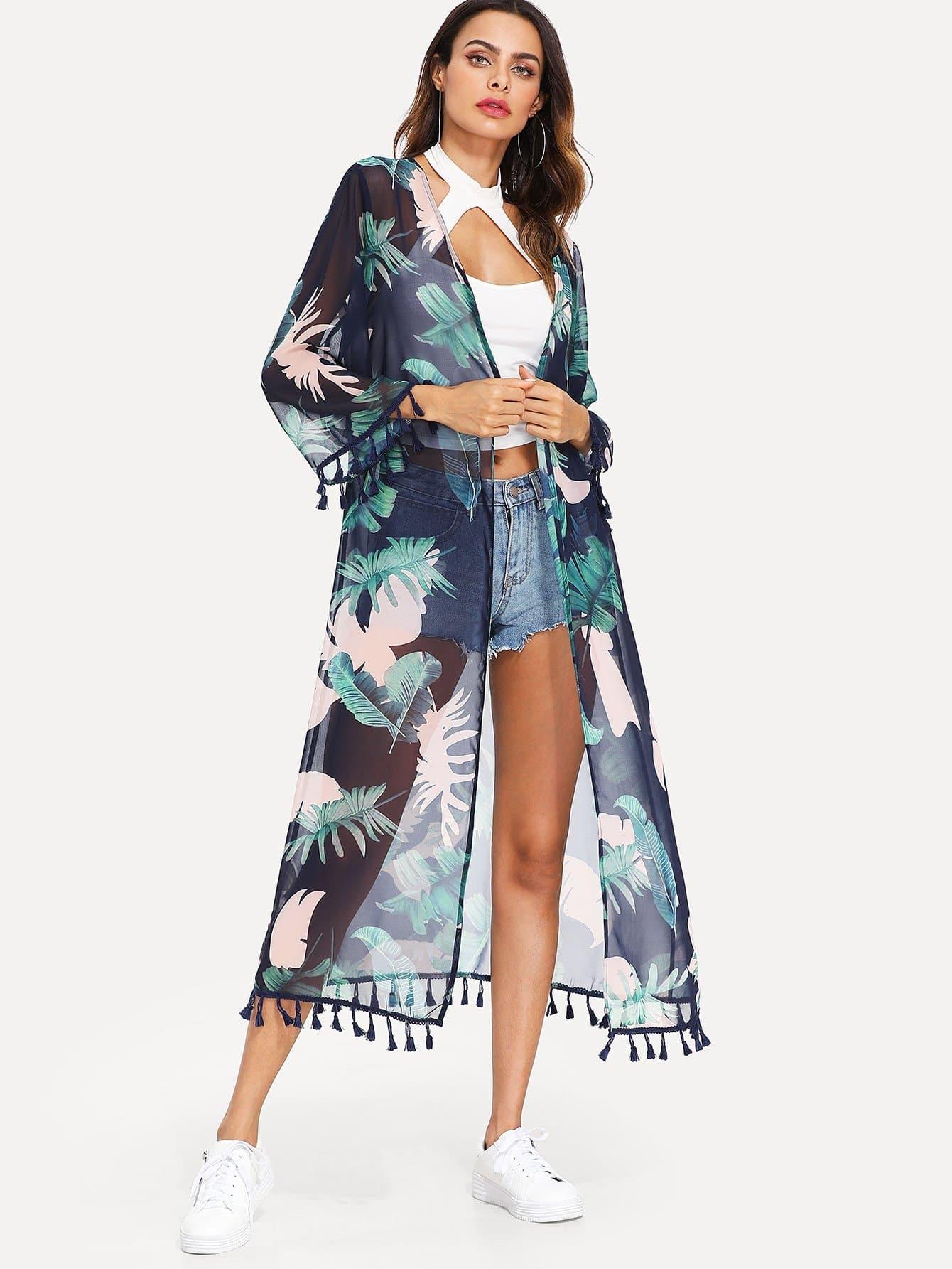 Tropical Print Tassel Embellished Longline Kimono geo print tassel embellished kimono