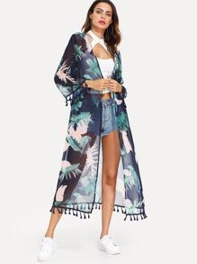 Tropical Print Tassel Embellished Longline Kimono