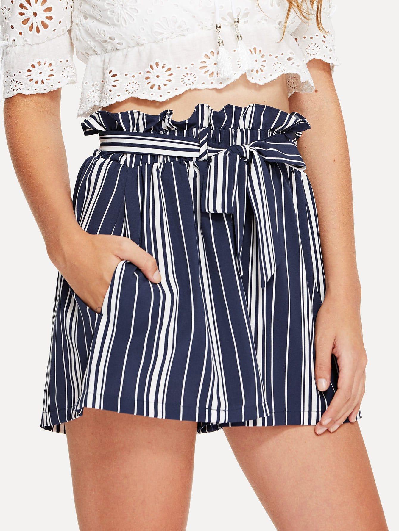 Tie Waist Striped Shorts striped ruffled waist self tie pants