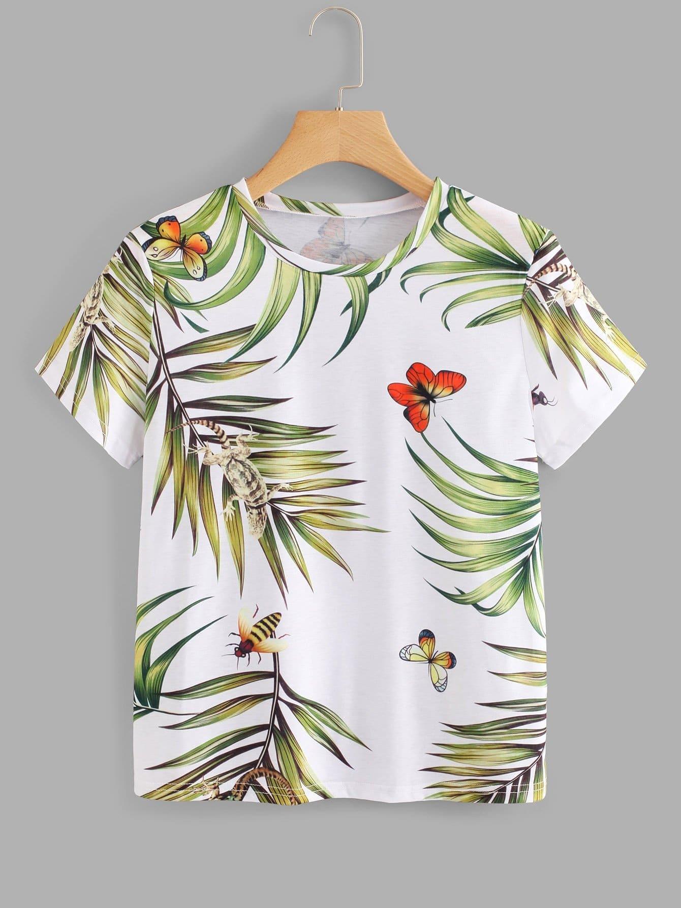 Jungle Leaf Print T-shirt все цены