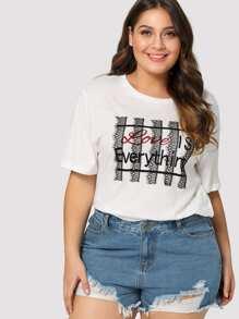 Lace Detail Letter Print T-shirt