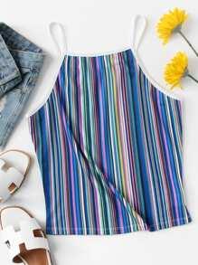 Vertical Stripe Ringer Cami Top