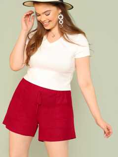 Plus Elasticized Waist Shorts with Dual Pockets