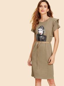 Figure Print Ruffle Sleeve Dress With Belt