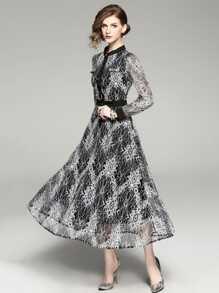 Floral Print Chiffon Flare Dress