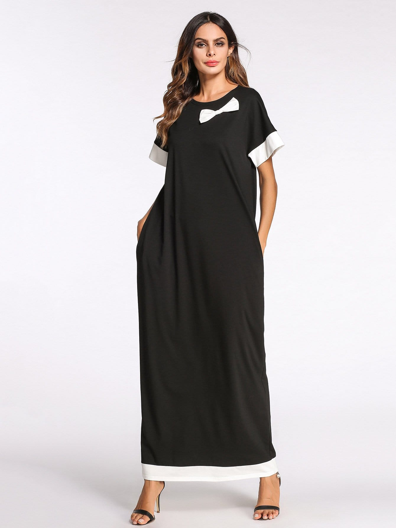 Bow Detail Block Stripe Contrast Longline Dress bow detail longline dress